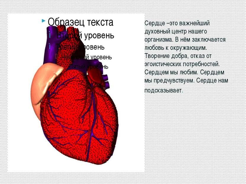 Сердце –это важнейший духовный центр нашего организма. В нём заключается любо...