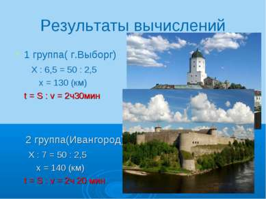 Результаты вычислений 1 группа( г.Выборг) Х : 6,5 = 50 : 2,5 х = 130 (км) t =...
