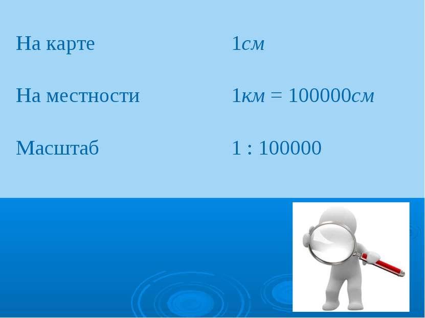На карте 1см На местности 1км = 100000см Масштаб 1 : 100000