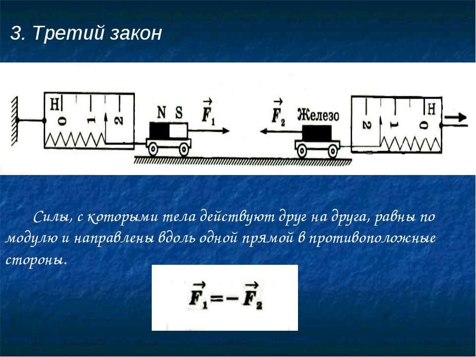 3. Третий закон Силы, с которыми тела действуют друг на друга, равны по модул...