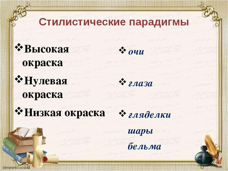 Стилистические парадигмы Высокая окраска Нулевая окраска Низкая окраска очи г...