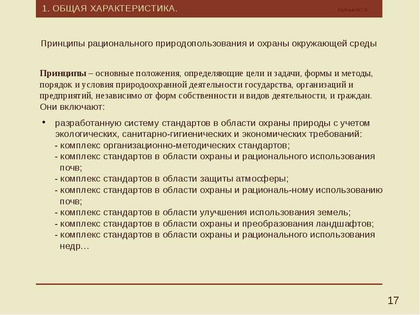1. ОБЩАЯ ХАРАКТЕРИСТИКА. Калмыков Г.А. 17 Принципы – основные положения, опре...