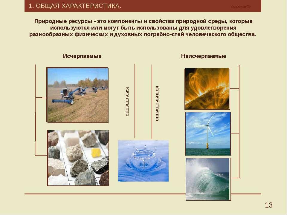 1. ОБЩАЯ ХАРАКТЕРИСТИКА. Калмыков Г.А. 13 Природные ресурсы - это компоненты ...