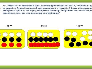 №4. Имеются три одинаковые урны. В первой урне находятся 4 белых, 4 черных и ...