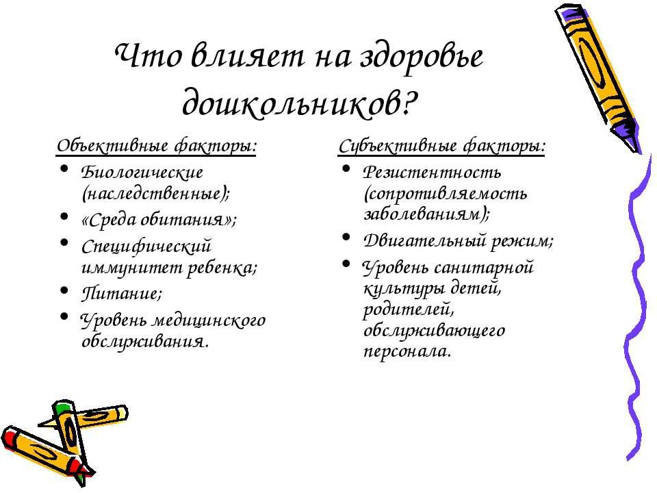 Что влияет на здоровье дошкольников? Объективные факторы: Биологические (насл...
