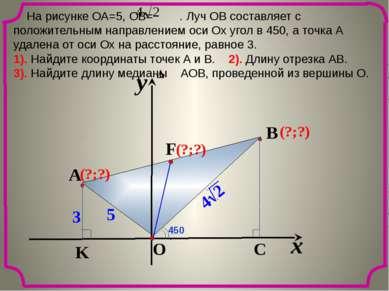 На рисунке ОА=5, ОВ= . Луч ОВ составляет с положительным направлением оси Ох ...