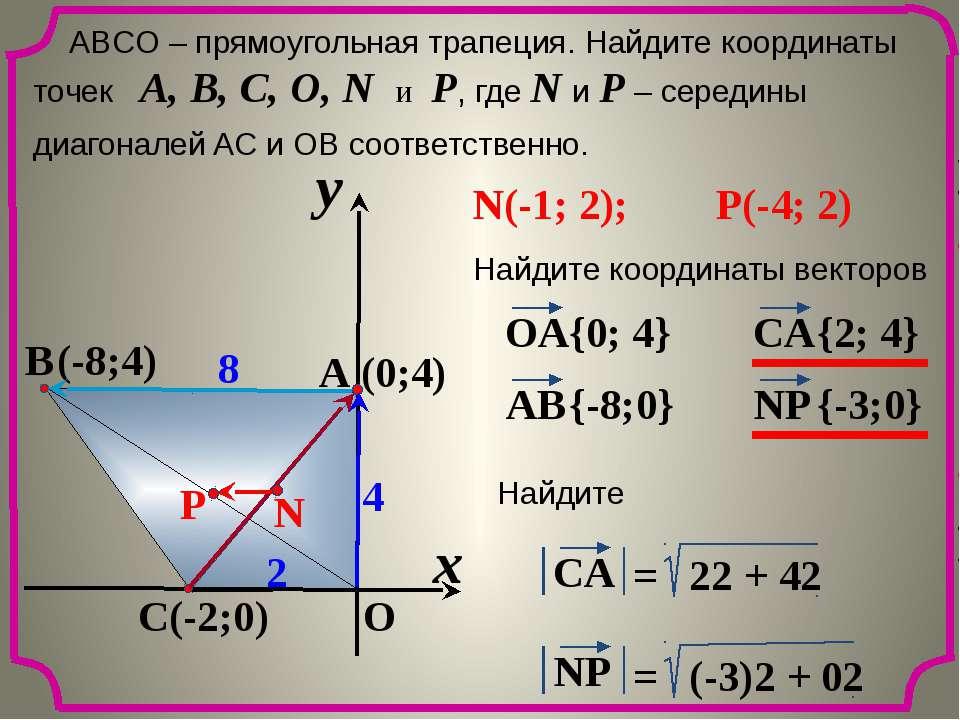 x y O A C B 8 2 4 ABCО – прямоугольная трапеция. Найдите координаты точек A, ...