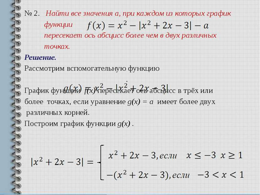 № 2. Найти все значения а, при каждом из которых график функции пересекает ос...