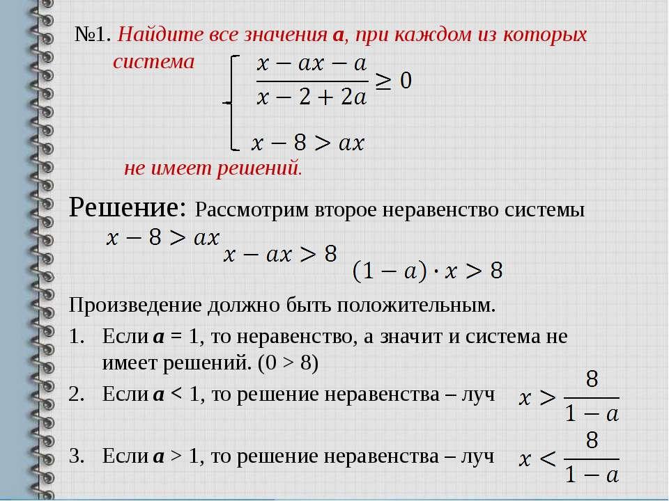 №1. Найдите все значения a, при каждом из которых система не имеет решений. Р...