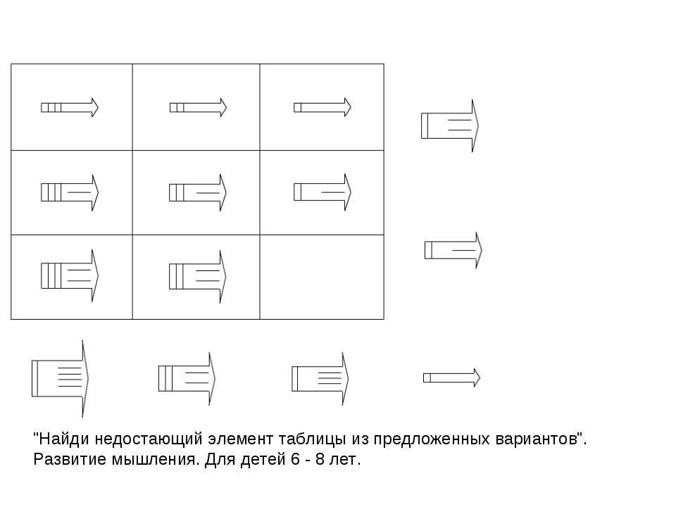 """""""Найди недостающий элемент таблицы из предложенных вариантов"""". Развитие мышле..."""