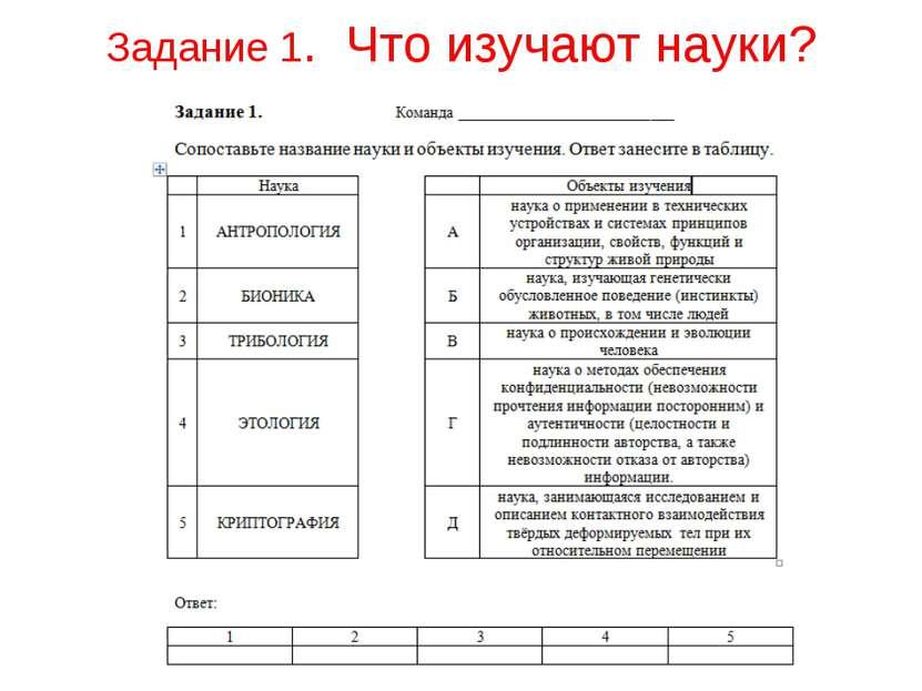 Задание 1. Что изучают науки?