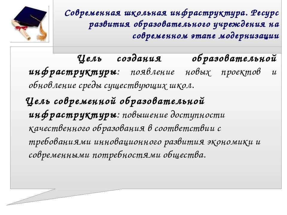 Современная школьная инфраструктура. Ресурс развития образовательного учрежде...