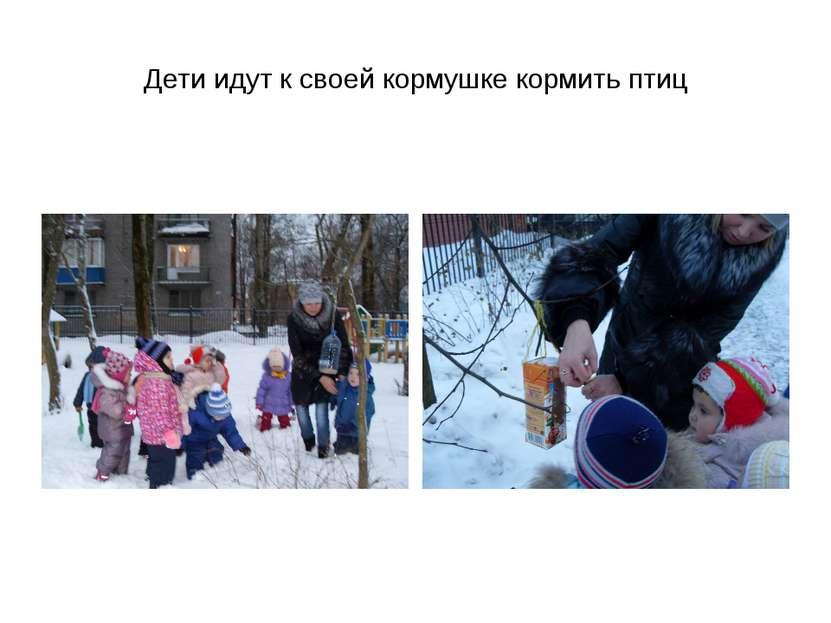 Дети идут к своей кормушке кормить птиц
