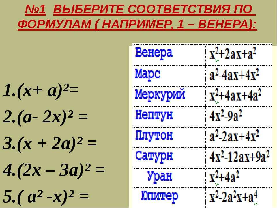 №1 ВЫБЕРИТЕ СООТВЕТСТВИЯ ПО ФОРМУЛАМ ( НАПРИМЕР, 1 – ВЕНЕРА): 1.(х+ а)²= 2.(а...
