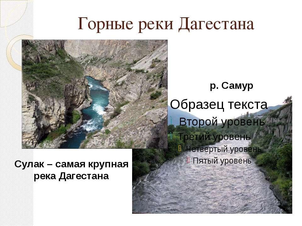 Горные реки Дагестана Сулак – самая крупная река Дагестана р. Самур