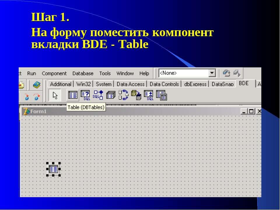 Шаг 1. На форму поместить компонент вкладки BDE - Table