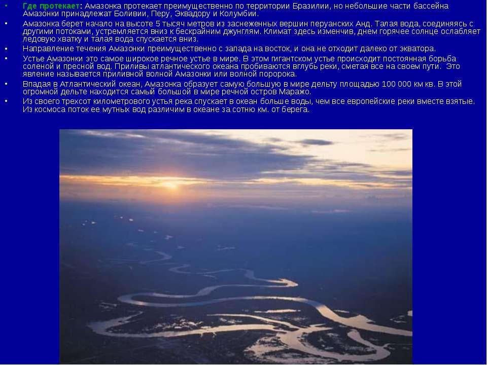 Где протекает:Амазонка протекает преимущественно по территории Бразилии, но ...