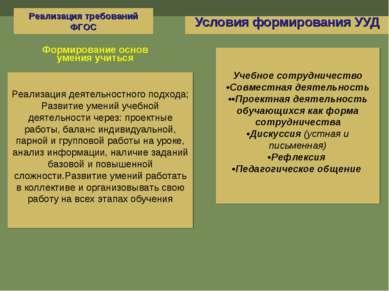 Условия формирования УУД Учебное сотрудничество •Совместная деятельность ••Пр...