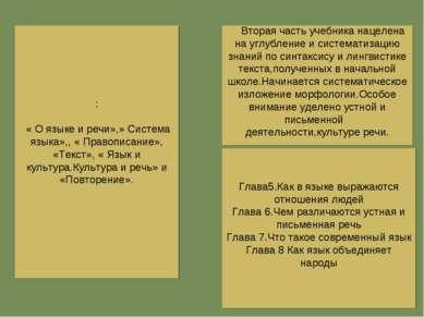 : « О языке и речи»,» Система языка»,, « Правописание», «Текст», « Язык и кул...
