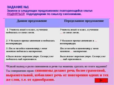 ЗАДАНИЕ №1 Замени в следующих предложениях повторяющийся глагол ПОДНЯТЬСЯ под...