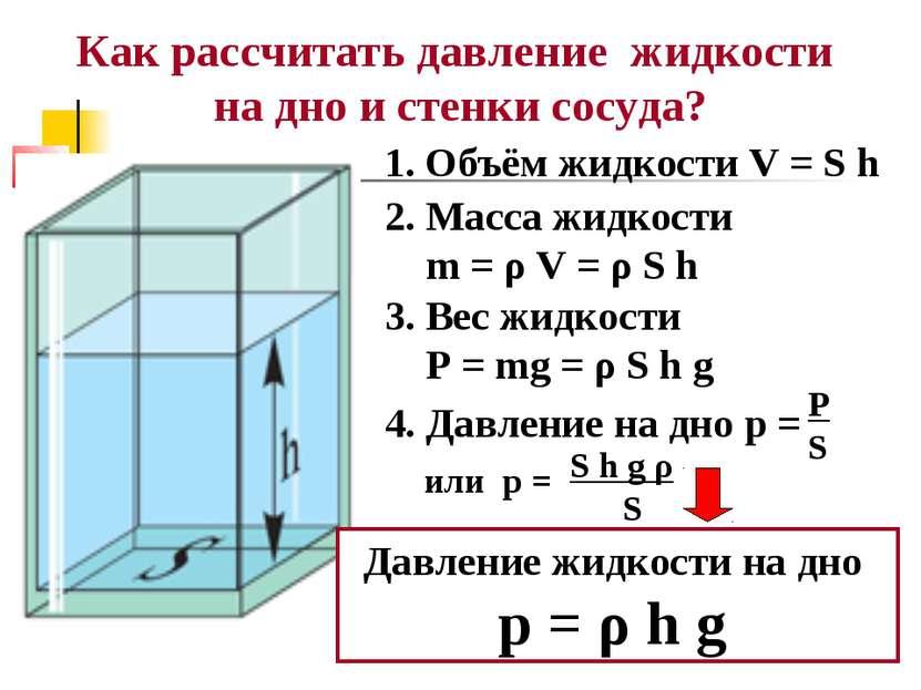Как рассчитать давление жидкости на дно и стенки сосуда? 1. Объём жидкости V ...