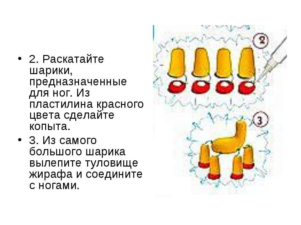2. Раскатайте шарики, предназначенные для ног. Из пластилина красного цвета с...