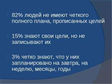 82% людей не имеют четкого полного плана, прописанных целей 15% знают свои це...