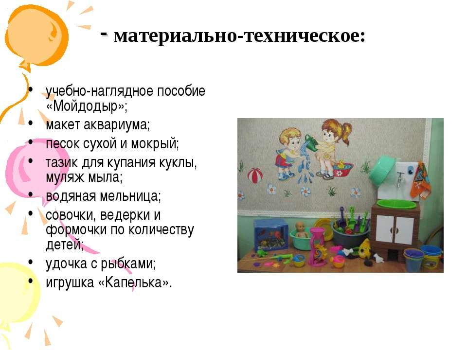 - материально-техническое: учебно-наглядное пособие «Мойдодыр»; макет аквариу...