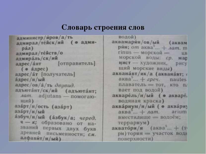 Словарь строения слов