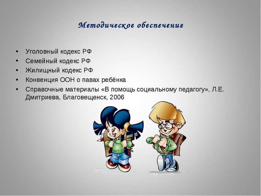 Методическое обеспечение Уголовный кодекс РФ Семейный кодекс РФ Жилищный коде...