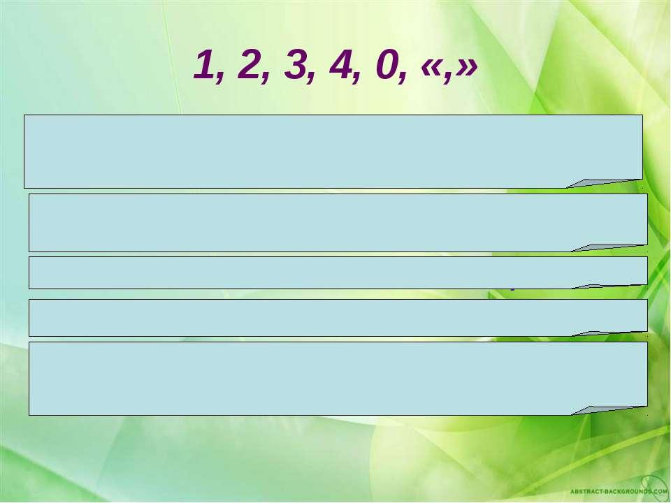 1, 2, 3, 4, 0, «,» Составьте из всех предложенных знаков наибольшее число. Со...