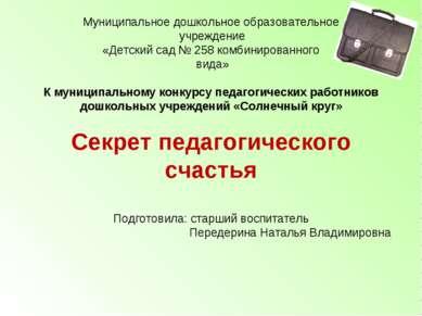Муниципальное дошкольное образовательное учреждение «Детский сад № 258 комбин...