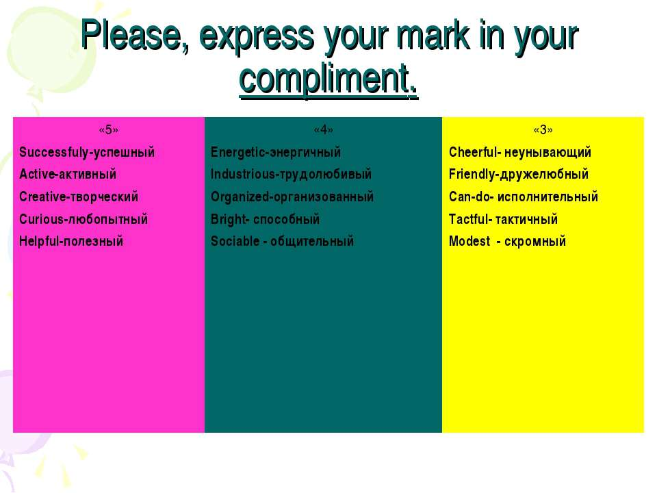 Please, express your mark in your compliment. «5» Successfulу-успешный Active...