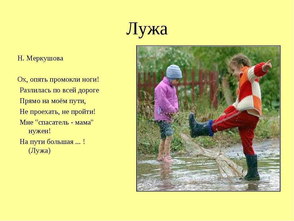 Лужа Н. Меркушова Ох, опять промокли ноги! Разлилась по всей дороге Прямо на ...