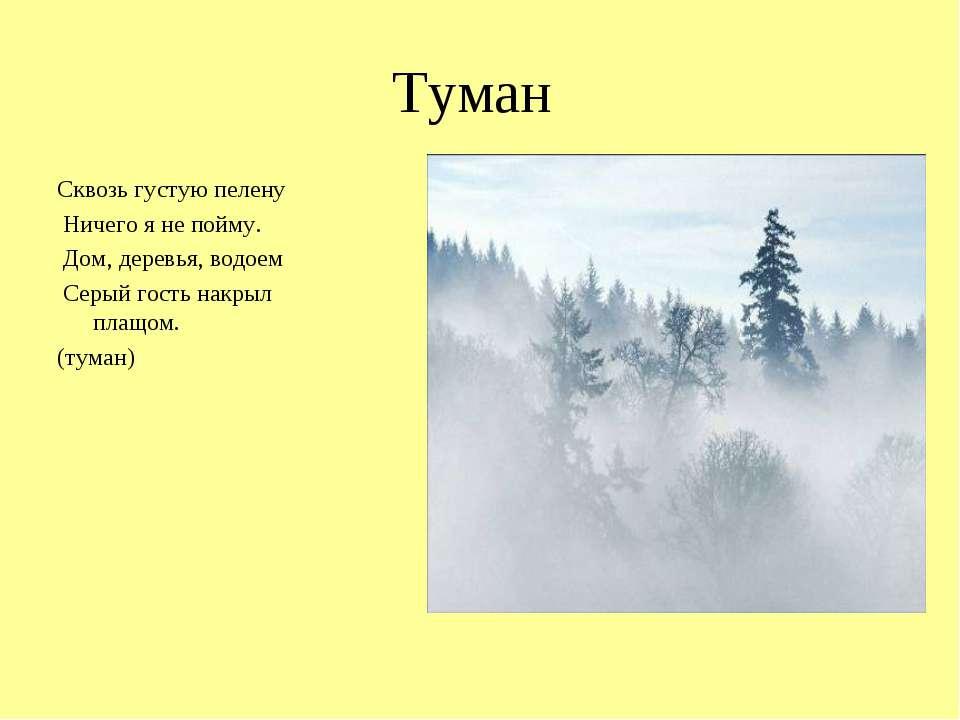 Туман Сквозь густую пелену Ничего я не пойму. Дом, деревья, водоем Серый гост...