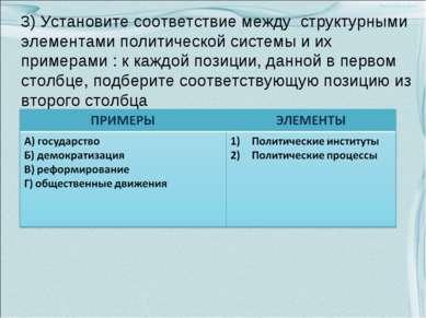 3) Установите соответствие между структурными элементами политической системы...