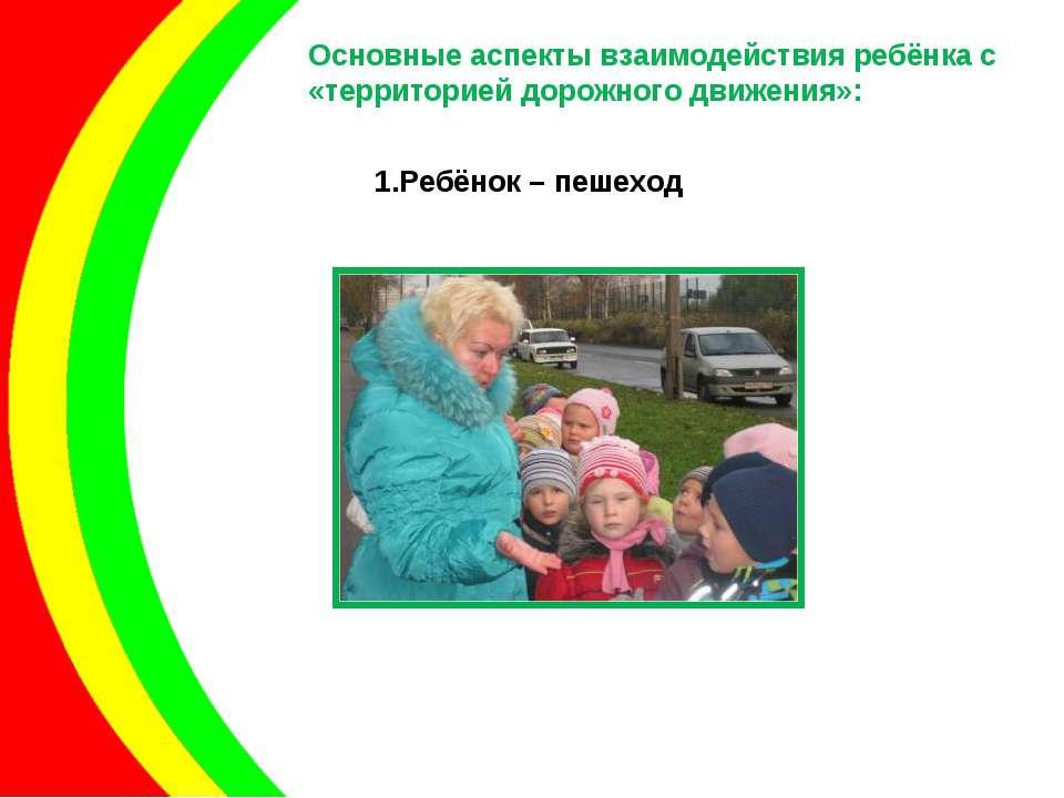 Основные аспекты взаимодействия ребёнка с «территорией дорожного движения»: Р...
