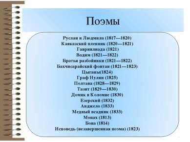 Поэмы Руслан и Людмила (1817—1820) Кавказский пленник (1820—1821) Гавриилиад...