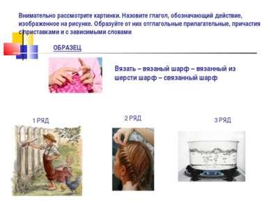 Внимательно рассмотрите картинки. Назовите глагол, обозначающий действие, изо...