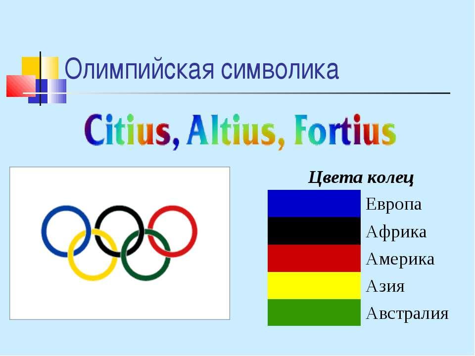 Олимпийская символика Цвета колец Европа Африка Америка Азия Австралия