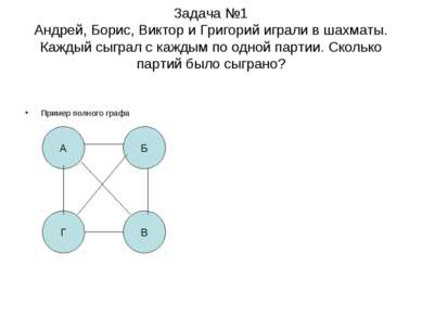 Задача №1 Андрей, Борис, Виктор и Григорий играли в шахматы. Каждый сыграл с ...