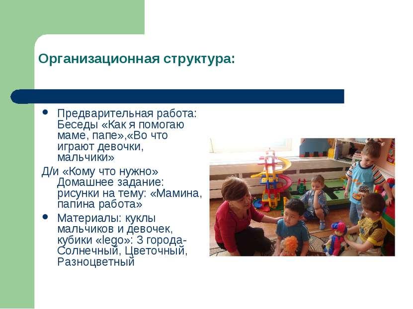 Организационная структура: Предварительная работа: Беседы «Как я помогаю маме...