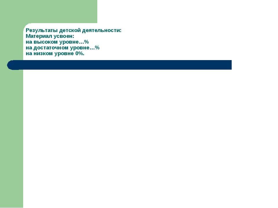 Результаты детской деятельности: Материал усвоен: на высоком уровне…% на дост...