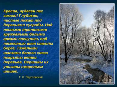 Красив, чудесен лес зимою! Глубокие, чистые лежат под деревьями сугробы. Над ...