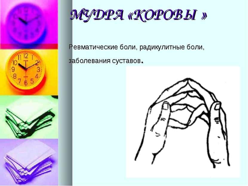 МУДРА «КОРОВЫ» Ревматические боли, радикулитные боли, заболевания суставов.