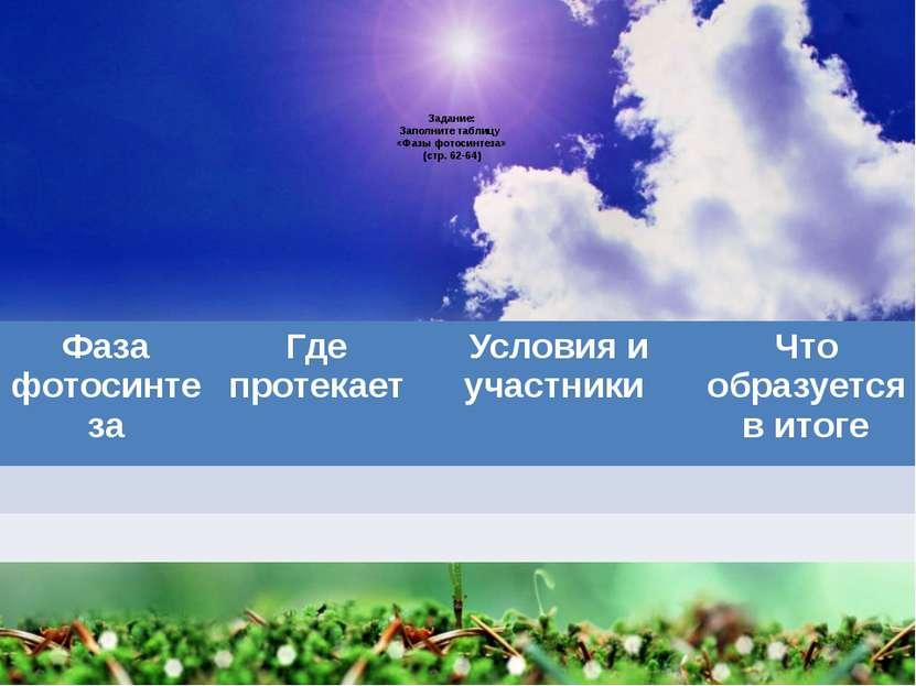 Задание: Заполните таблицу «Фазы фотосинтеза» (стр. 62-64) Фаза фотосинтеза Г...