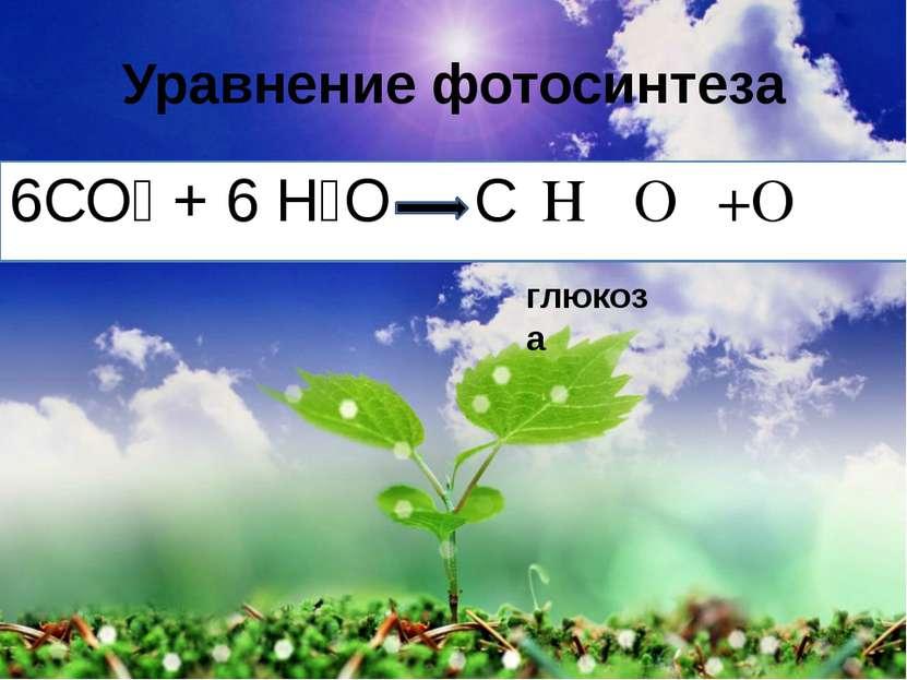 Уравнение фотосинтеза 6СО₂ + 6 Н₂О С₆Н₁₂О₆ +О₂ глюкоза