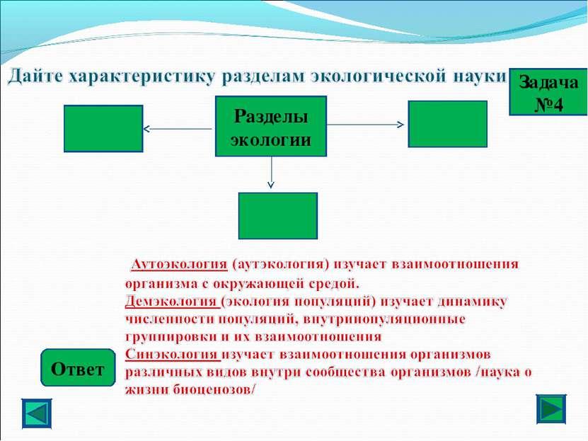 Ответ Задача №4 Разделы экологии