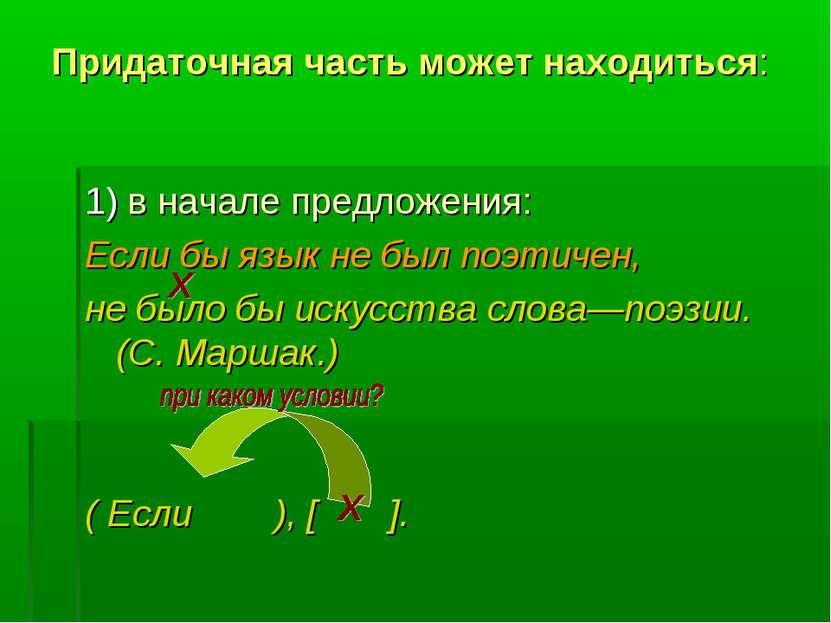 Придаточная часть может находиться: 1) в начале предложения: Если бы язык не ...