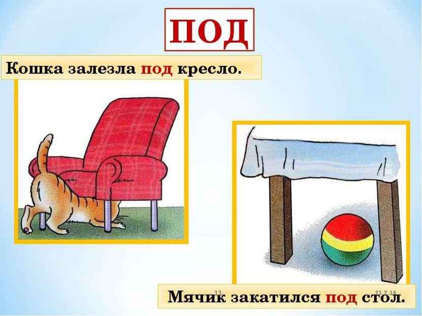 ПОД Кошка залезла под кресло. Мячик закатился под стол. 21.2.16 *
